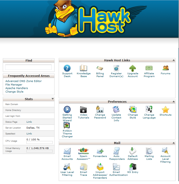 Hawk Host cPanel Theme
