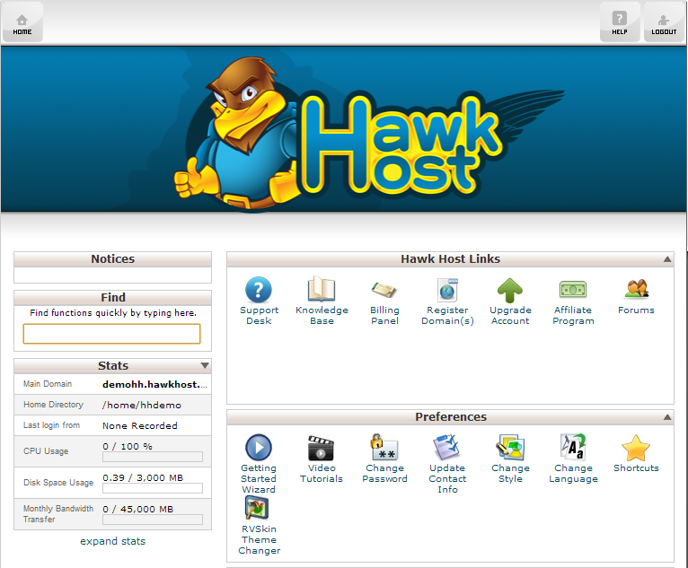 Hawk Host Custom cPanel